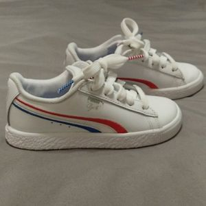 Puma red wht and blue toddler boy shoes